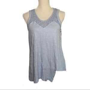 WILT Blue sleeveless Asymmetrical hem lace Top NWT